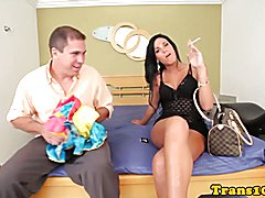 Smoking tranny escort fucked hard by her lucky client
