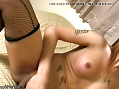 Ladyboy in black fishnets shows off new boobs and blowjobs  - clip # 02