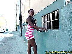 Black amateur tgirl tugs hard cock before cum