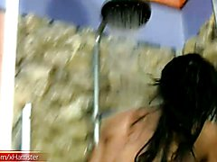 Black hair t-babe with massive ass and boobs jerks in shower  - clip # 02