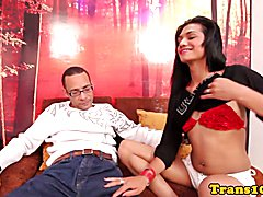 Slender trans girlfriend pounded by her lover