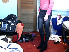 Femboy masturbing trying on outfits