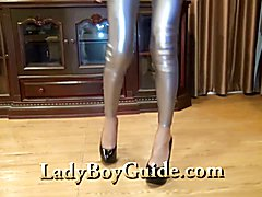 Smiling Kitty in shiny silver briefs smiled at me knowing that I would satisfy the feeling s...