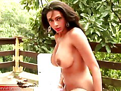 Big ass tranny whips out thick ladystick and strokes it hard  - clip # 02