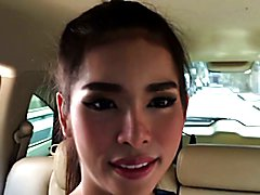At the hotel, this sweet ladyboy reveals her uncut she-cock, which new boyfriend Bo Ryder im...