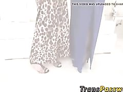 Asian tranny fucking a hot busty babes cock craving pussy
