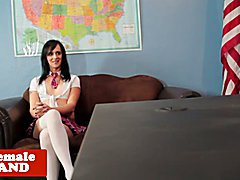 Uniformed transsexual doggystyled over desk