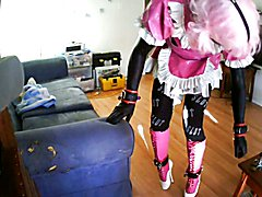tied with the ice lock and new balletboots..gagged with mistress' dirty panties and microfoa...