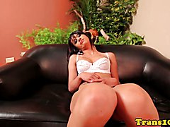 Amateur latina tranny with poison ivy tattoo riding on hard cock