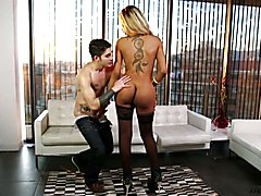 Naughty Latin transsexual fucked in all holes