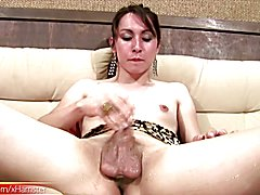 Honeyed up shemale teases her ladystick until a loud cumload  - clip # 02