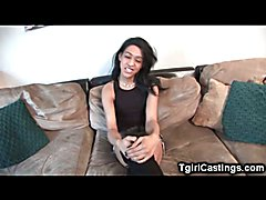 Ultra feminine slender amateur trap masturbates and jizzes on her stomach at her very first ...