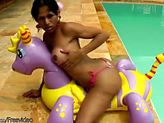 Attractive Latina cock girl plays with her boobs and shedick