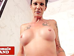 Inked trans beauty with big round tits pulling cock in the shower