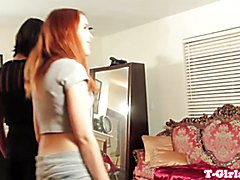 Classy lesbian tranny strapon fucked by redhead beauty while getting handjob