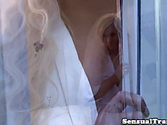 Angelic bigtitted transexual bride analy drilled on wedding night