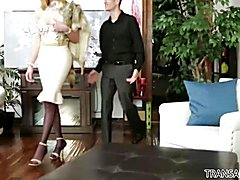 Stunning, curvy blond TS Jenna Tales can't believe her luck when new boyfriend Chad Diamond ...