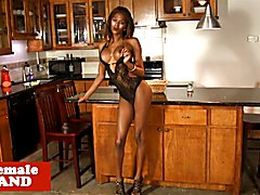 Ebony trans beauty spreads ass and wanks chocolate cock solo