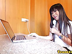 Secretary ladyboy assfucking doggystyle after teasing