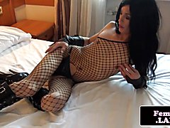 Solo lingeried femboy in kinky high boots toys her tight ass