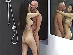 Two lovers meet in the shower room. Those lovely feminine curves belong to Ladyboy Rita, as ...