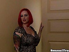 Chubby redhead tgirl cocksucked by curvy babe