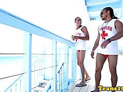 Bigtitted bikini tgirl spitroasted in trio after getting picked up on beach