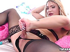 Hot Tgirl Jazling Perez Having Fun With A Toy