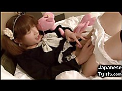 Small young japanese shemale Hiromi got caught masturbating and licking her own pre-cum by a...