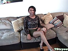 Mexian tgirl firsttime cocksucking and jerking cock on camera