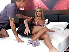 Tranny slut gets kissed and licked by two guys She gives then nice blowjobs Then later them ...