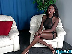 Black trans amateur tugs cocolate cock solo
