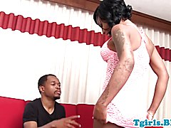 Ebony trans beauty with round ass twerks while doggystyled