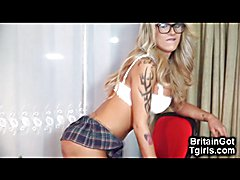 Hot big titted british transsexual babe Mia Maffia is an incredibly fit college girl who lov...