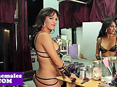 Busty lingerie tgirl cockriding after plowed