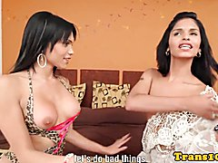 Latina tgirls cocksucking before assfucking together and love it