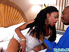 Black tgirl bare fucked doggystyle takes cock ass to mouth