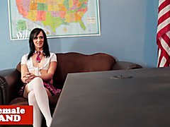 Naughty school uniformed tranny analized by principal