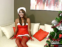 Hark the herald angels sing this tgirl has a massive cock. Boy are you guys in for a treat t...