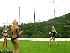 Four trannies in string bikini playin volleyball and fucking