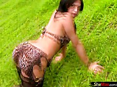 This arousing shemale was made to be on film and the camera loved her. Temptingly stripping ...