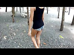 Skinny young asian shemale with sexy long legs and an amazing small ass flashes her tits out...
