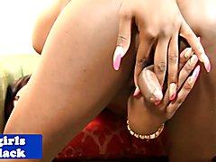 Attractive nubian tranny sensually strips
