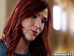 Redhead trans babe cockriding after blowjob