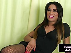 Classy lingerie tgirl beauty solo jerkoff