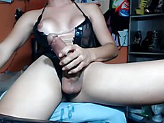 Trans with HUGE cock cumming