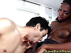 Black shemale wanks cock while receiving hj