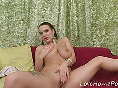 Lusty brunette chick with big tits masturbates