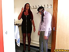Euro femdoms jerking sub in cfnm threeway before blowjob