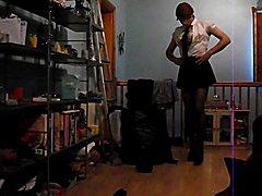 Having fun wearing my sexy school uniform part 3